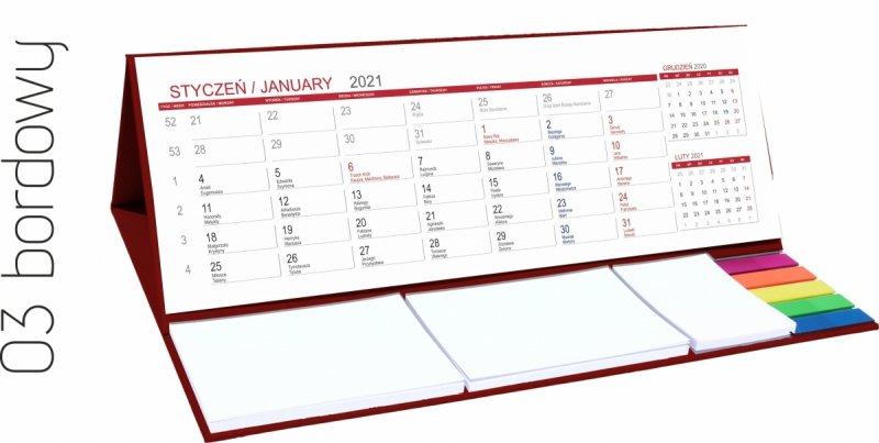 Kalendarz biurkowy z notesami i znacznikami MAXI 2021 bordowy