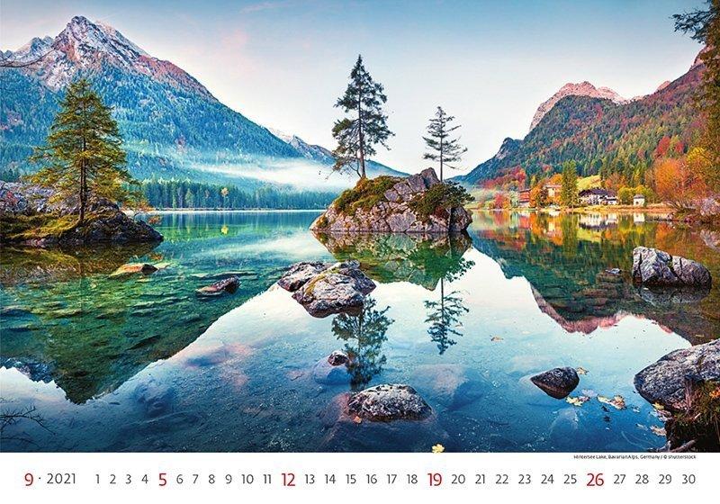 Kalendarz ścienny wieloplanszowy Landscapes 2021 - wrzesień 2021