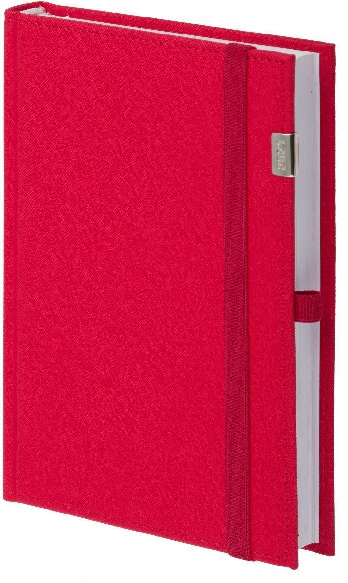 Kalendarz książkowy 2021 A4 tygodniowy oprawa ROSSA z metalową datą zamykana na gumkę czerwona