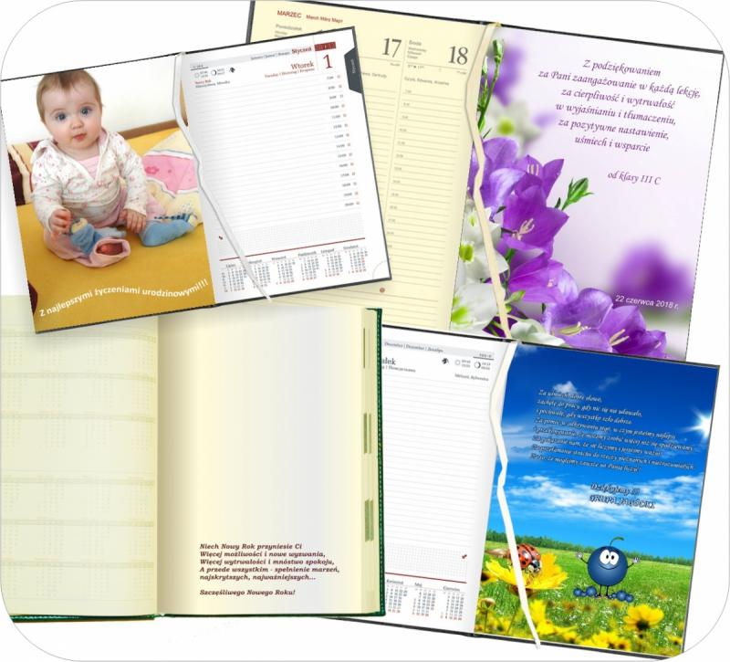 wklejka do kalendarza nauczyciela - wklejka z dedykacją, podziękowaniem, foto wklejka