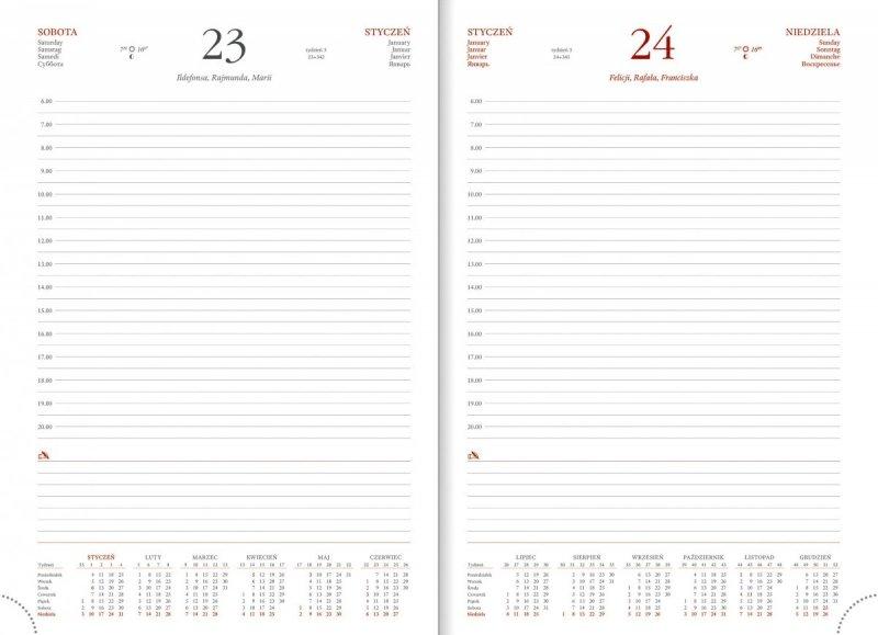 Kalendarz na rok 2021 z sobotą i niedzielą na oddzielnych stronach