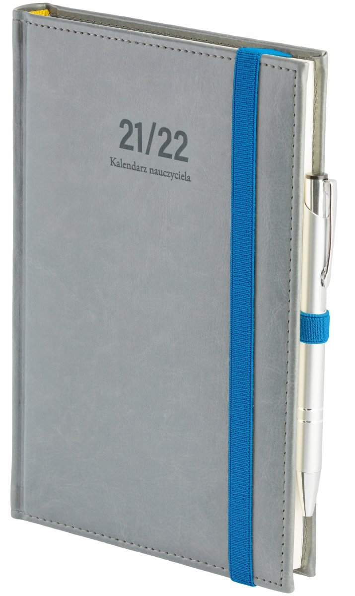 Oprawa kalendarza dla nauczyciela Nebraska z zamykaniem na gumkę i mocowaniem na długopis w kolorze szarym