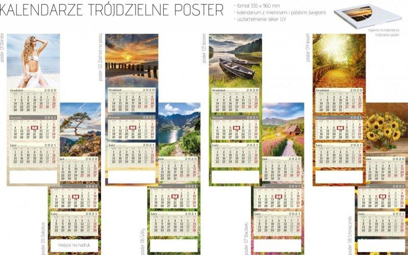 Kalendarz trójdzielny POSTER 2021 z miejscem na nadruk