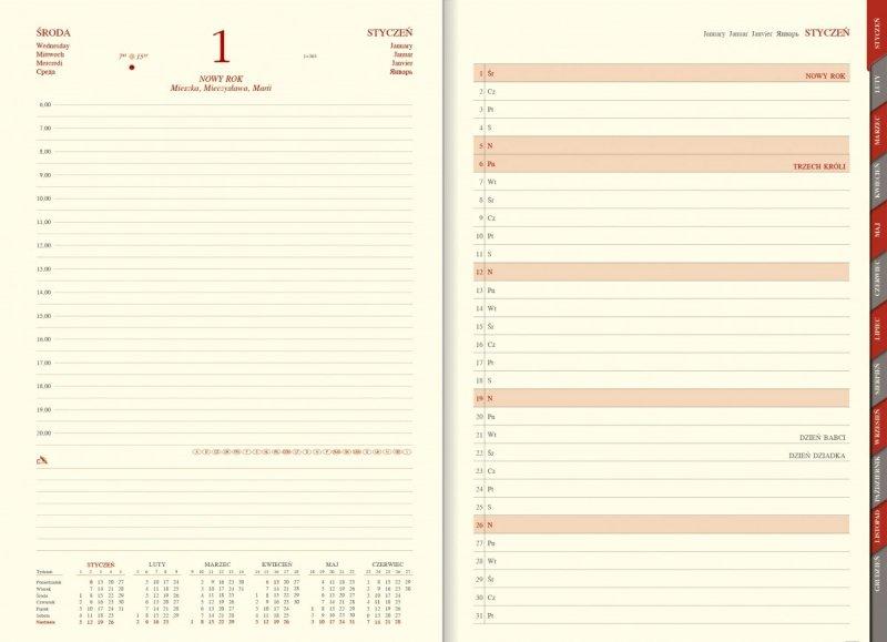 Kalendarz książkowy A4 dzienny papier chamois wycinane registry