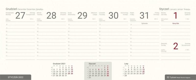 Plan drugiego semestru roku szkolnego 2021/2022 w kalendarzu biurkowym