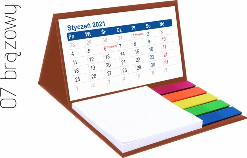 Kalendarz biurkowy z notesem i znacznikami MINI 2021 brązowy