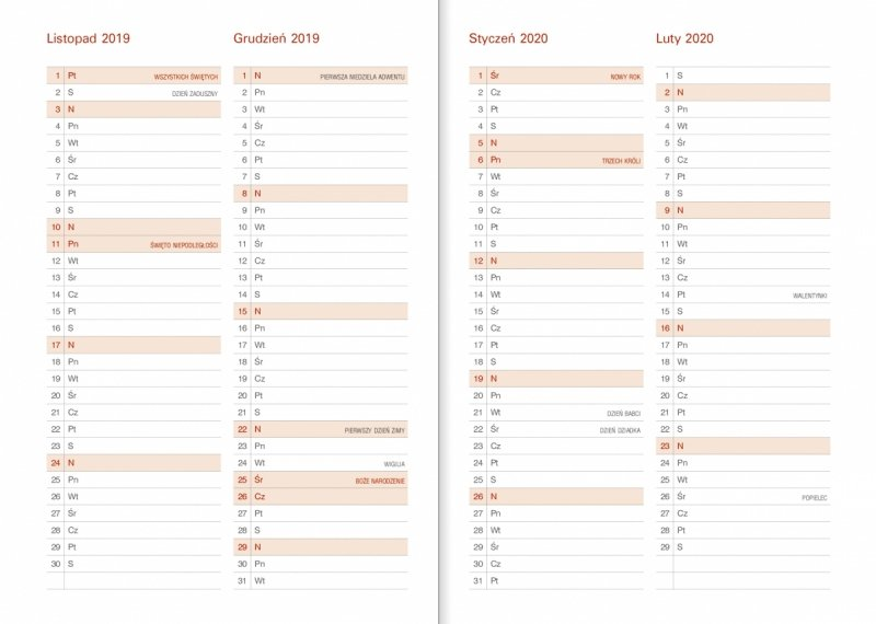 Kalendarz akademicki - Planer miesięczny od lipca 2019 do pażdziernika 2020