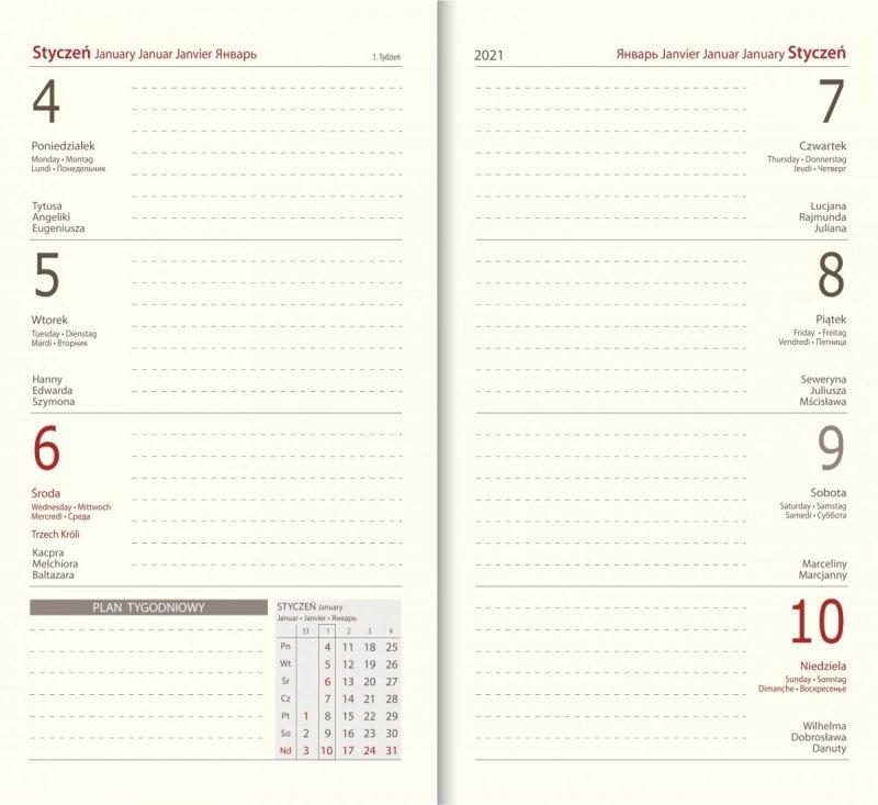 Blok chamois do kalendarza A6 tygodniowy 2021