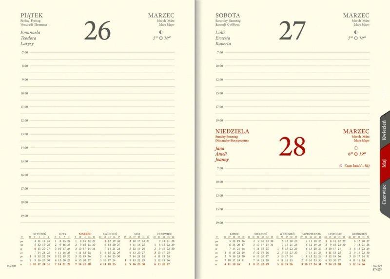 Blok A5 dzienny papier chamois wycinane registry z planerem przed każdym miesiącem