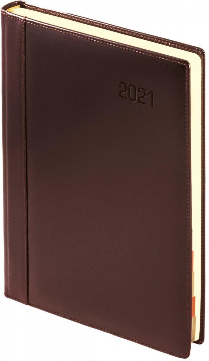 Kalendarz książkowy 2021 A4 tygodniowy oprawa KENIA - skóra naturalna brązowa