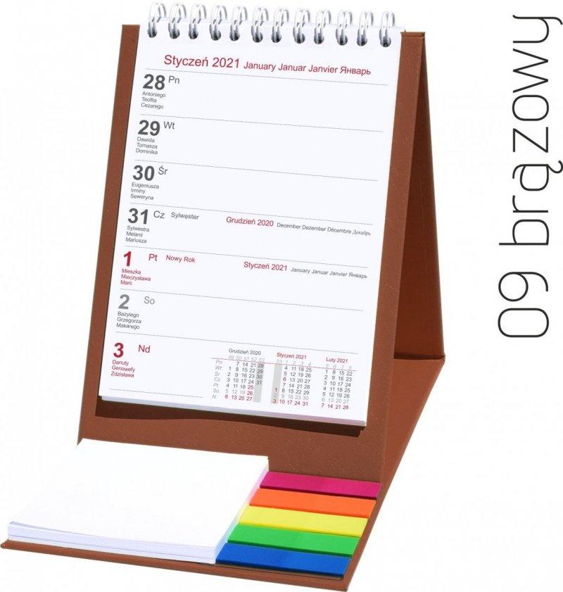 Kalendarz biurkowy z notesem i znacznikami TOP tygodniowy 2021 brązowy