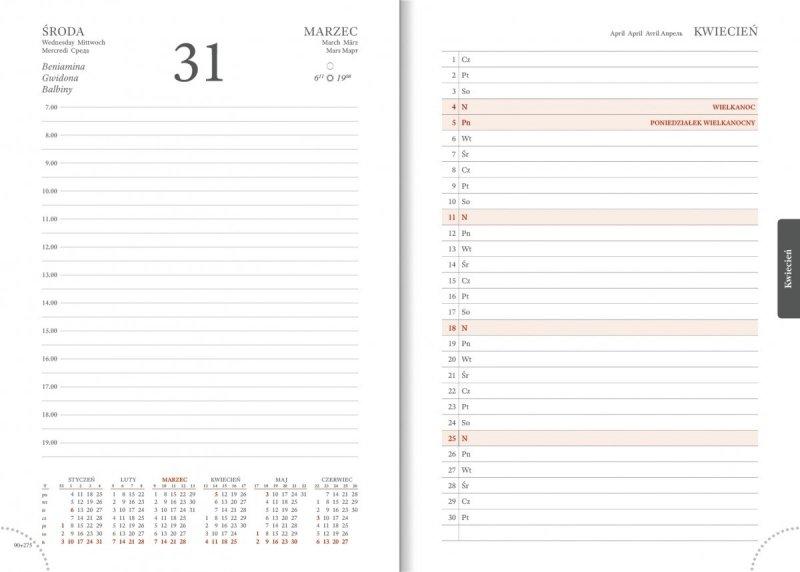 Kalendarz książkowy 2021 A5 dzienny papier biały drukowane registry perforacja
