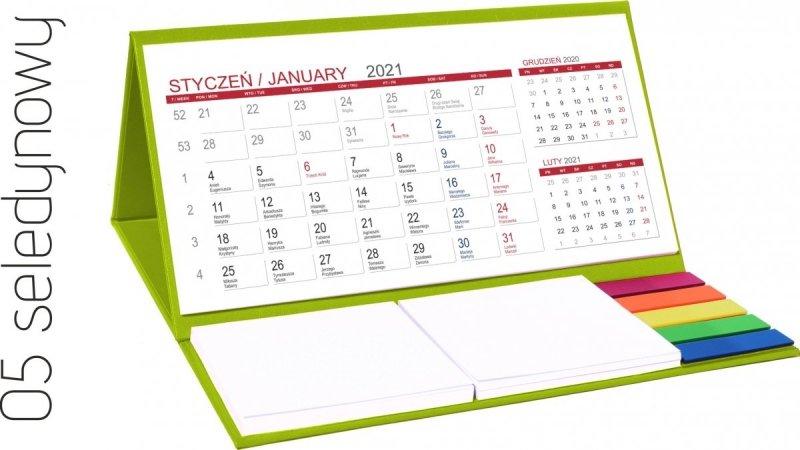 Kalendarz biurkowy z notesami i znacznikami MIDI 3-miesięczny 2021 seledynowy