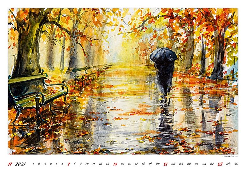 Kalendarz ścienny wieloplanszowy Watercolour Scenery 2021 - listopad 2021