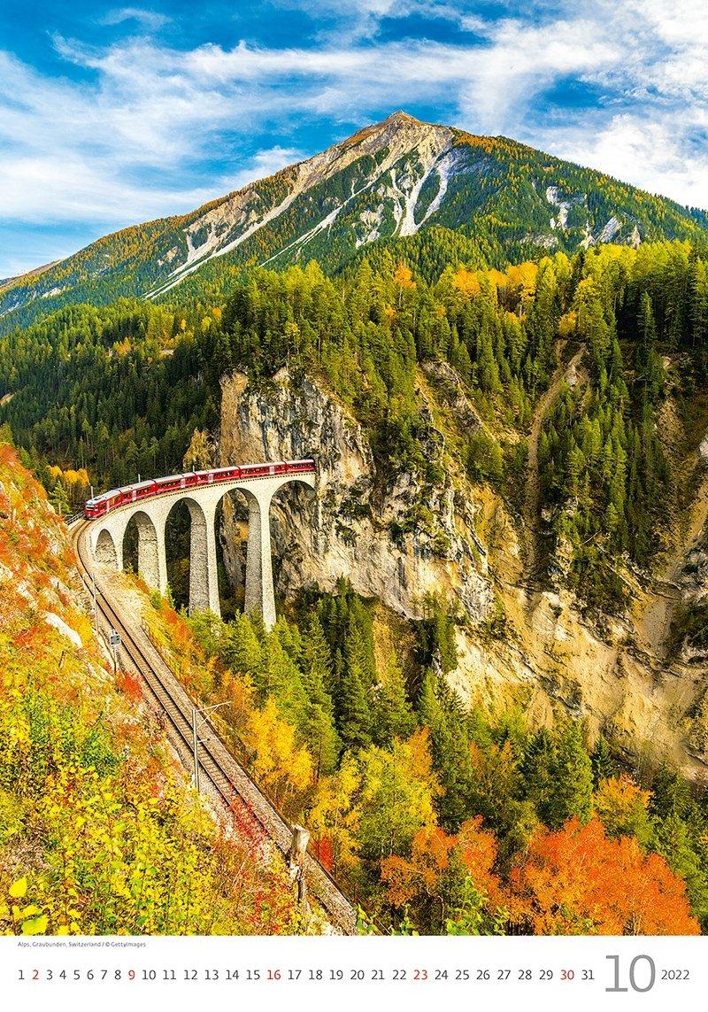 Kalendarz ścienny wieloplanszowy Mountains 2022 - październik 2022