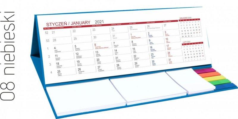 Kalendarz biurkowy z notesami i znacznikami MAXI 2021 niebieski