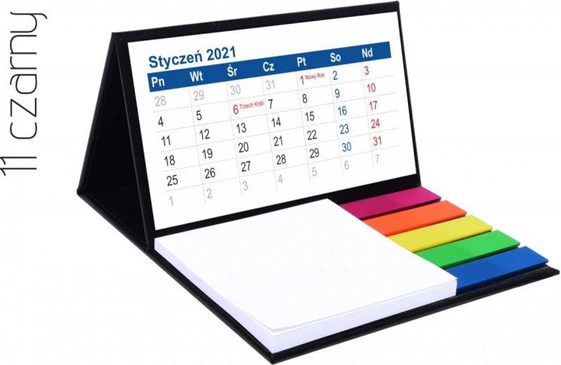 Kalendarz biurkowy z notesem i znacznikami MINI 2021 czarny