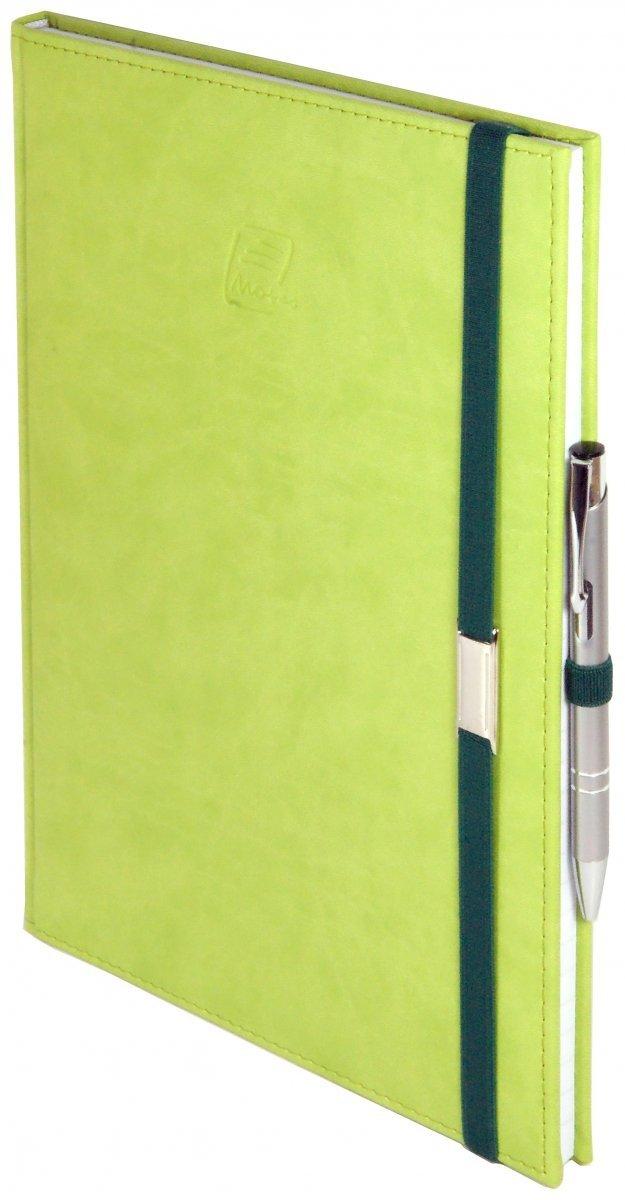 Notes A5 z długopisem zamykany na gumkę z blaszką  oprawa Vivella seledynowa - okładka