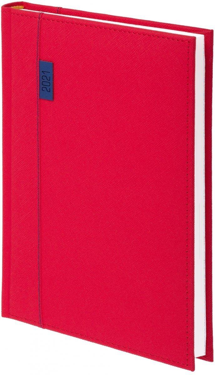 Kalendarz książkowy 2021 A4 tygodniowy oprawa Vegas czerwona