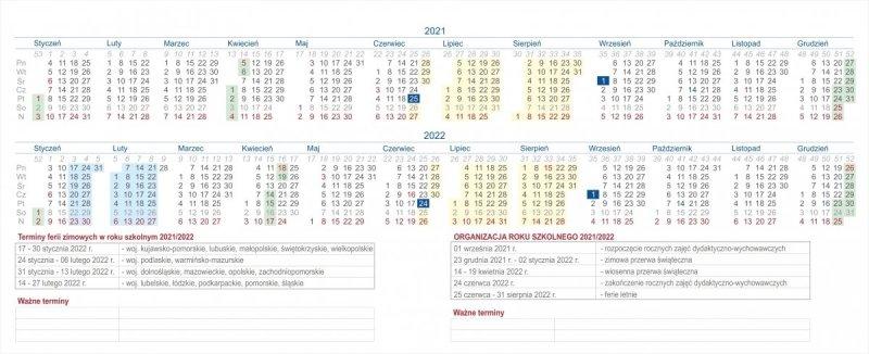 Plan i organizacja roku szkolnego 2021/2022 w kalendarzu biurkowym