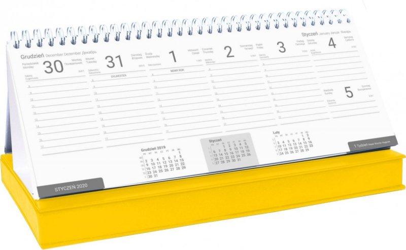 Kalendarz biurkowy z piórnikiem 2021 żółty