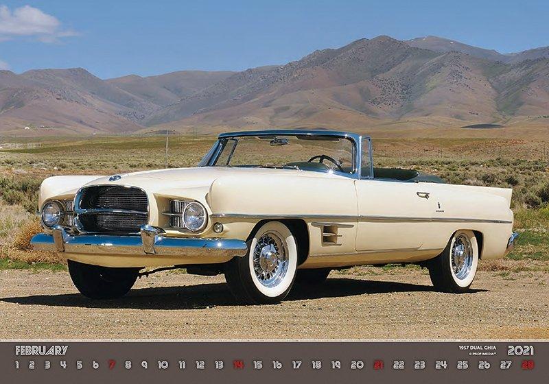 Kalendarz ścienny wieloplanszowy Retro Cars 2021 - luty 2021