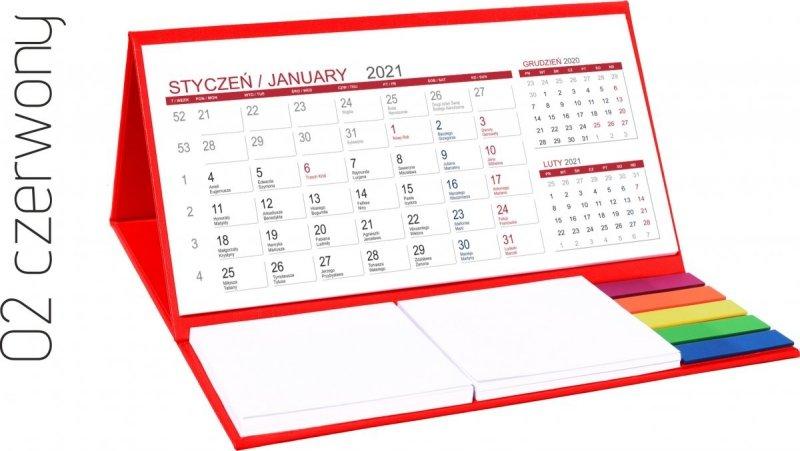 Kalendarz biurkowy z notesami i znacznikami MIDI 3-miesięczny 2021 czerwony