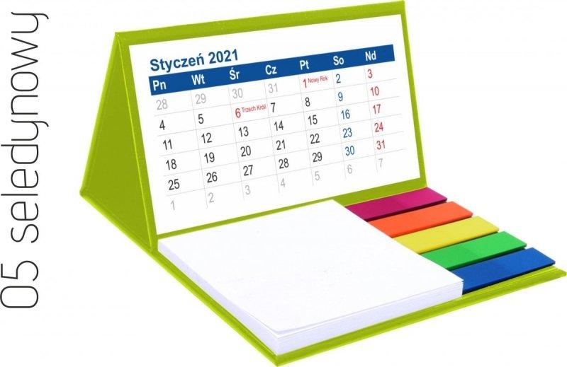 Kalendarz biurkowy z notesem i znacznikami MINI 2021 seledynowy
