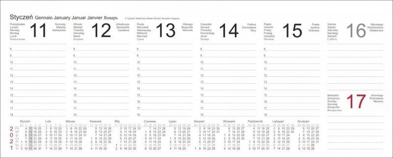 Kalendarz biurkowy z piórnikiem 2021 seledynowy