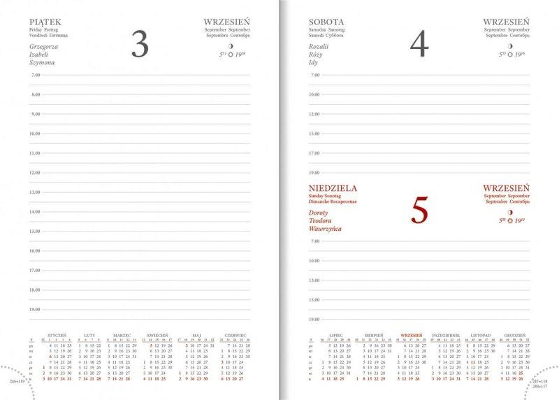 Kalendarz w formacie A5 z układem dziennym