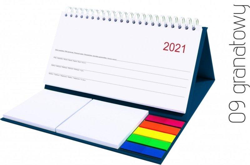Kalendarz biurkowy z notesami i znacznikami MIDI TYGODNIOWY 2021 granatowy