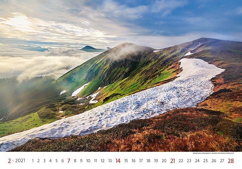 Kalendarz ścienny wieloplanszowy Landscapes 2021 - luty 2021
