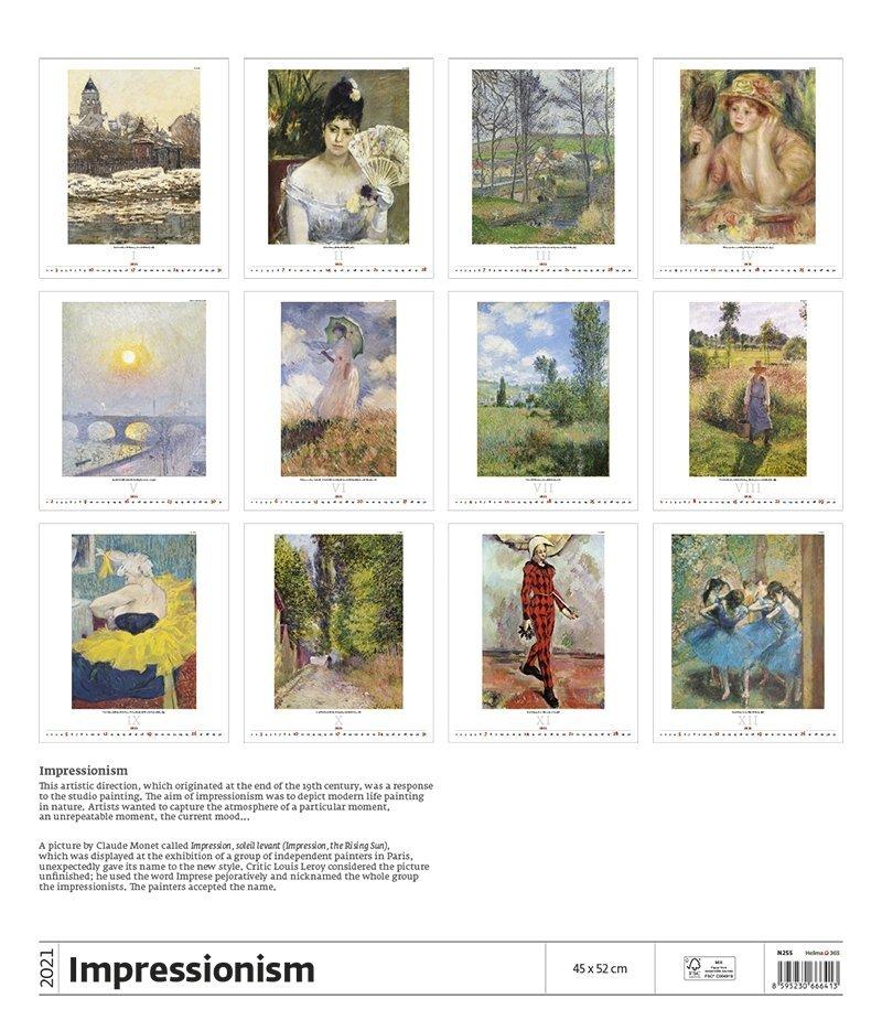 Kalendarz ścienny wieloplanszowy Impressionism 2021 - exclusive edition - tylna okładka