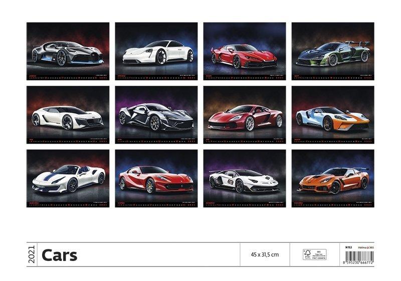 Kalendarz ścienny wieloplanszowy Cars 2021 - tylna okładka