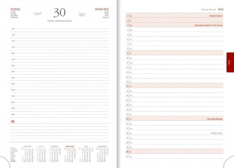 Kalendarz książkowy na rok 2021 B5 dzienny papier biały drukowane registry