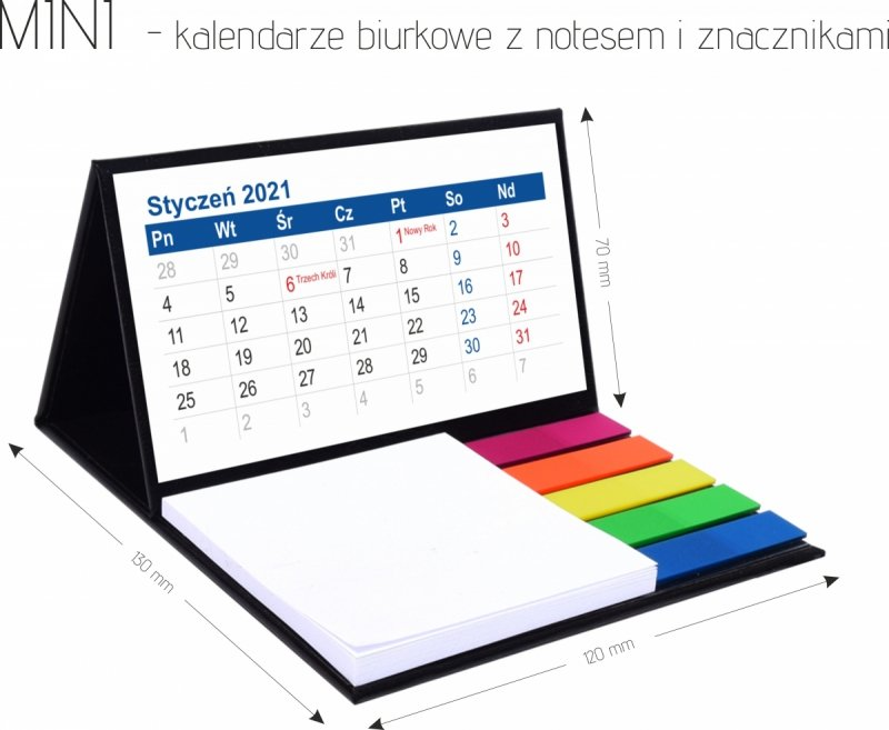 Kalendarz biurkowy z notesem i znacznikami MINI 2021 - wymiary