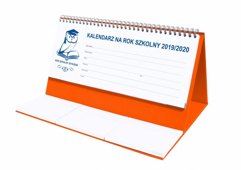 Kalendarz biurkowy EXCLUSIVE na rok szkolny 2019/2020 - pomarańczowy