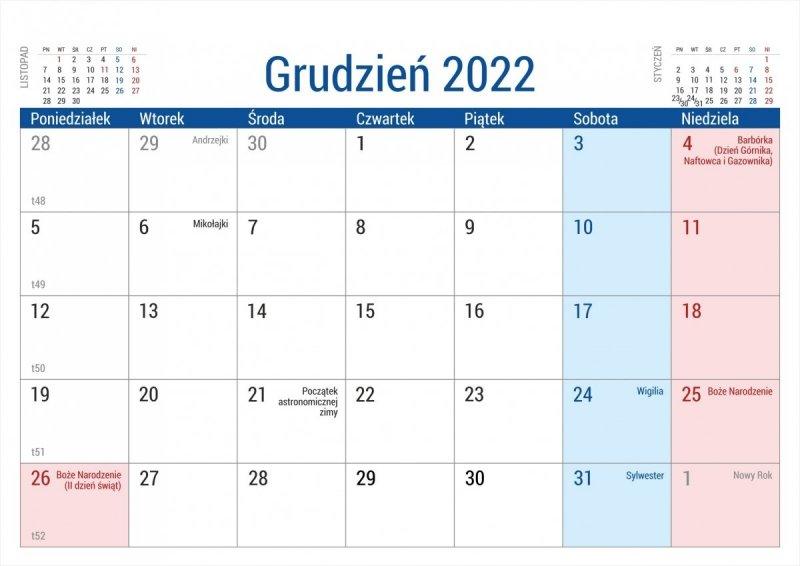 Kalendarz biurkowy stojący na podstawce PLANO 2022 pomarańczowy