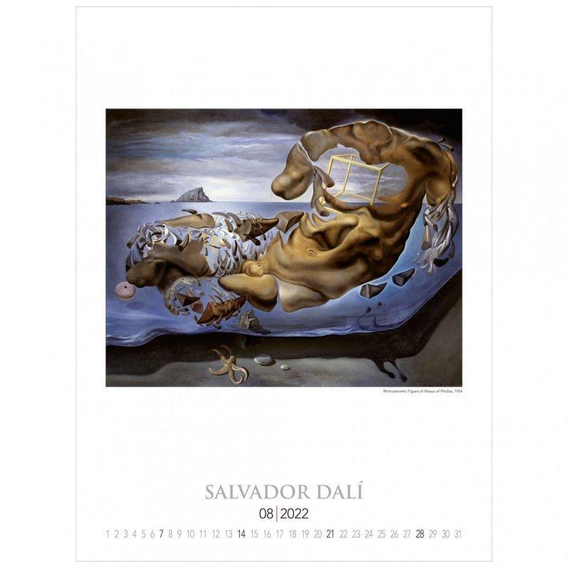 Kalendarza ścienny wieloplanszowy z reprodukcjami obrazów Salvadora Dali - sierpień 2022