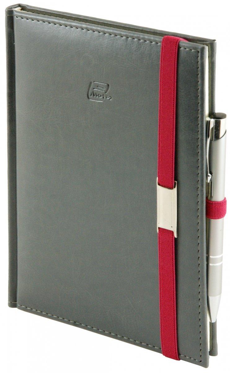 Notes A5 z długopisem zamykany na gumkę z blaszką  oprawa Nebraska szara - okładka