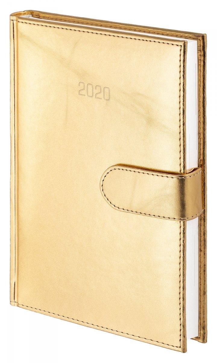 Kalendarz książkowy 2020 A4 tygodniowy oprawa MAGNESIAN - złoty oprawa skóropodobna zamykana na magnes