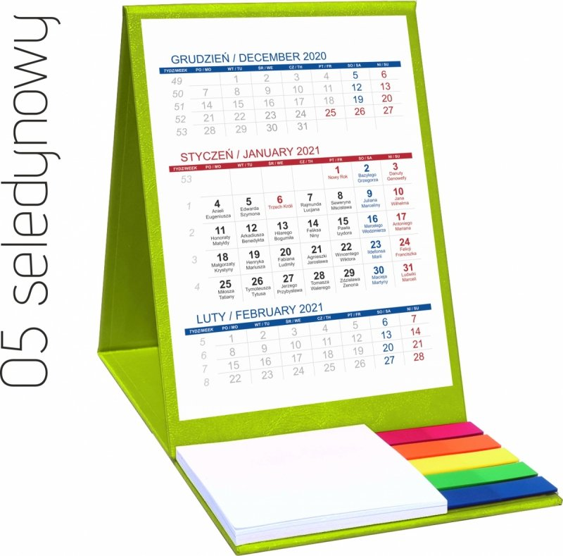 Kalendarz biurkowy z notesem i znacznikami TOP 3-miesięczny 2021 seledynowy