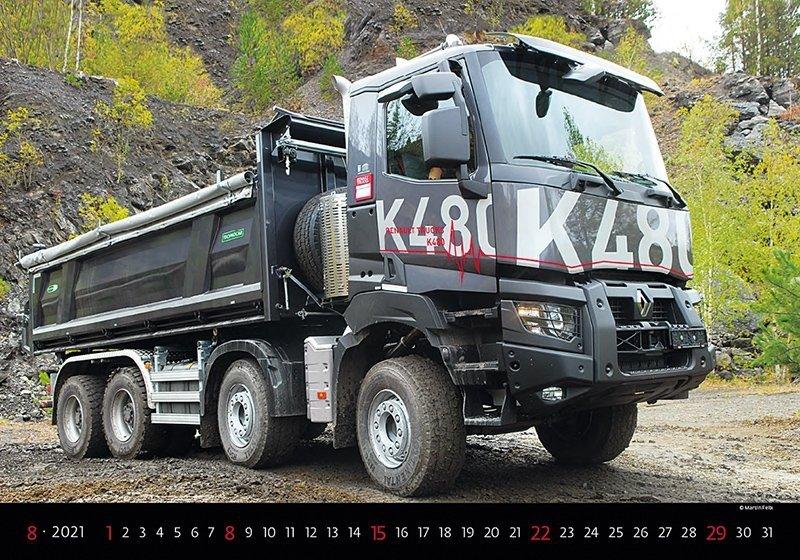 Kalendarz ścienny wieloplanszowy Trucks 2021 - sierpień 2021
