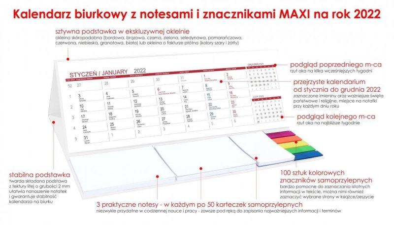 Kalendarz biurkowy stojący z notesami i znacznikami na rok 2022