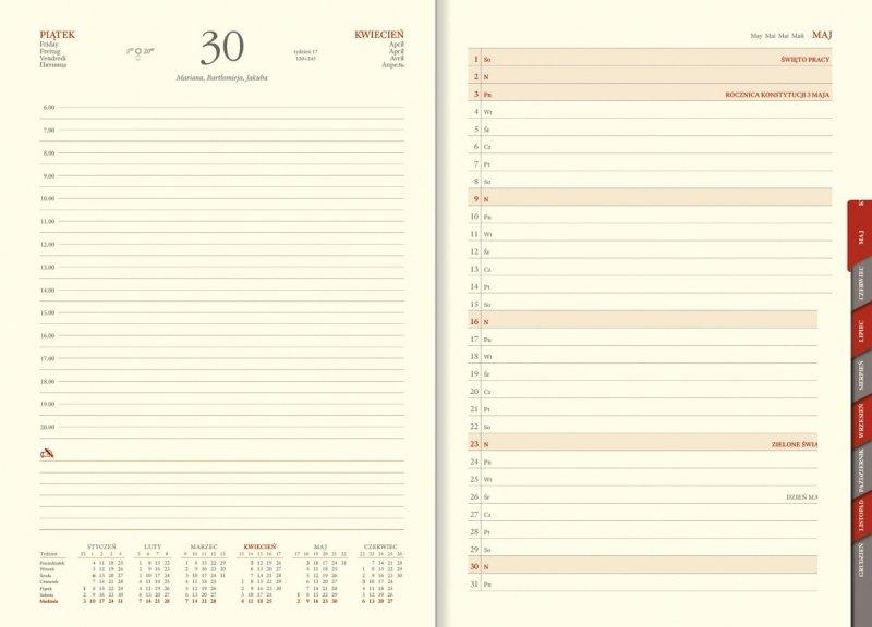 Blok kalendarza książkowego z planerem przed każdym miesiącem