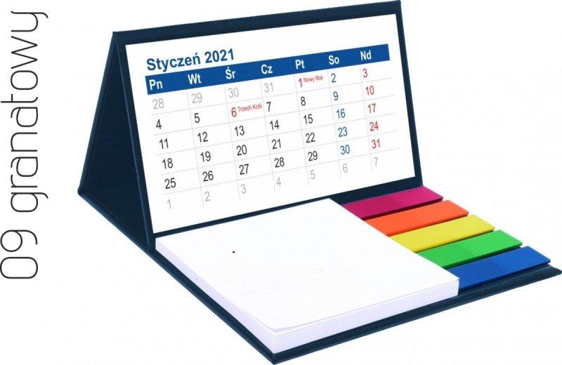 Kalendarz biurkowy z notesem i znacznikami MINI 2021 granatowy