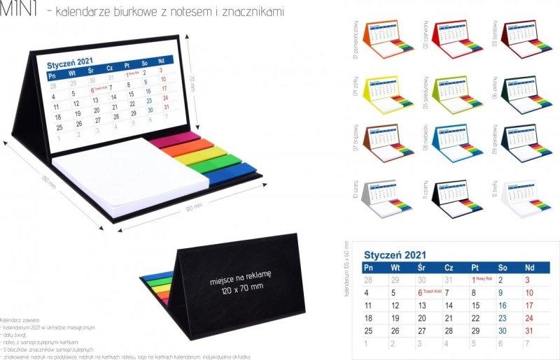 Kalendarz biurkowy z notesem i znacznikami MINI 2021