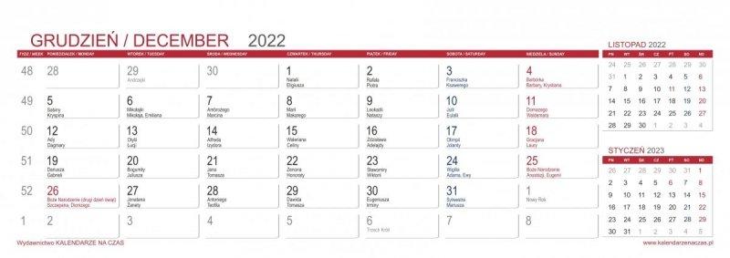 Kalendarz biurkowy z notesami i znacznikami MAXI 2022 bordowy