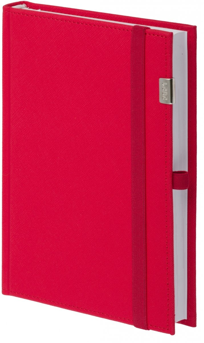 Kalendarz książkowy 2021 B5 tygodniowy oprawa zamykana na gumkę Rossa z metalową datą - kolor czerwony