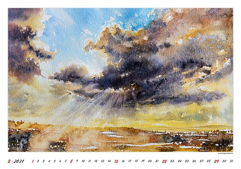 Kalendarz ścienny wieloplanszowy Watercolour Scenery 2021 - sierpień 2021